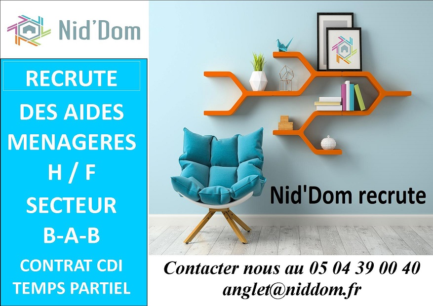 Nid'Dom Anglet recrute des aides ménagères H / F