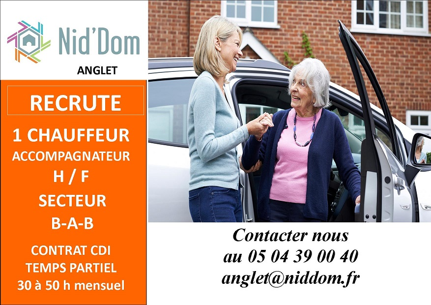 Nid'Dom Anglet recrute chauffeur accompagnateur